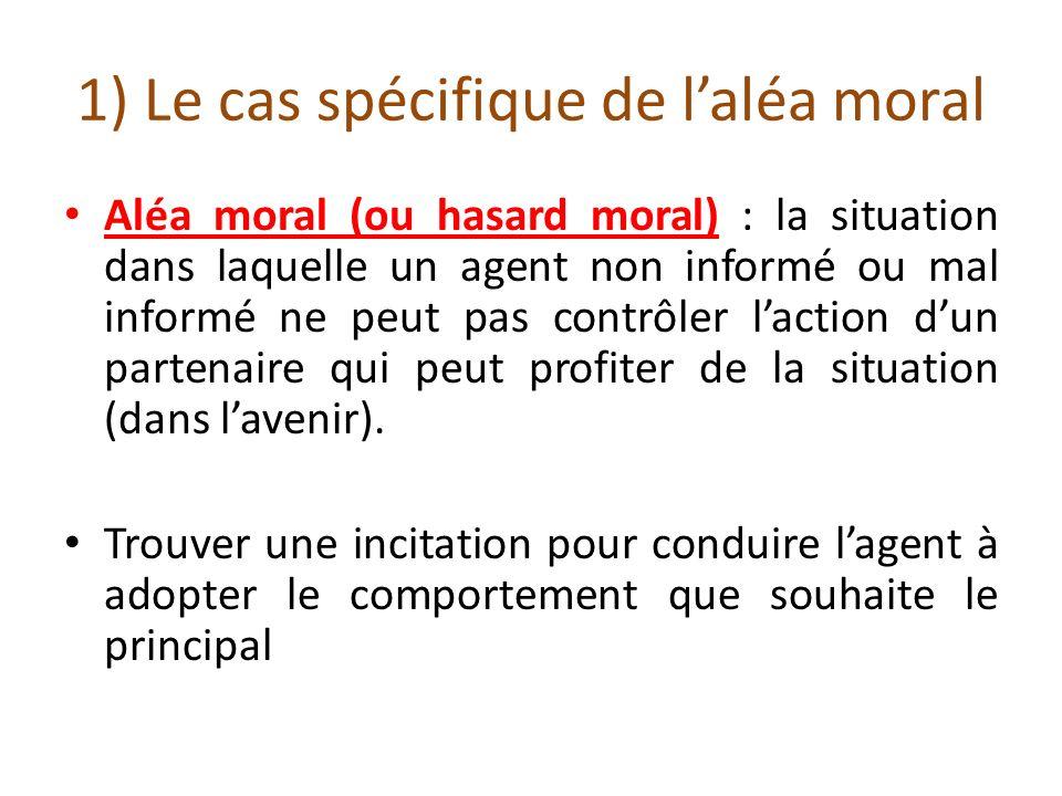 1) Le cas spécifique de laléa moral Aléa moral (ou hasard moral) : la situation dans laquelle un agent non informé ou mal informé ne peut pas contrôle