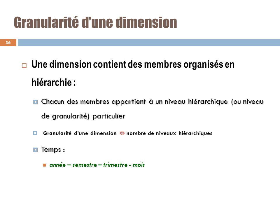 Granularité dune dimension Une dimension contient des membres organisés en hiérarchie : Chacun des membres appartient à un niveau hiérarchique (ou niv