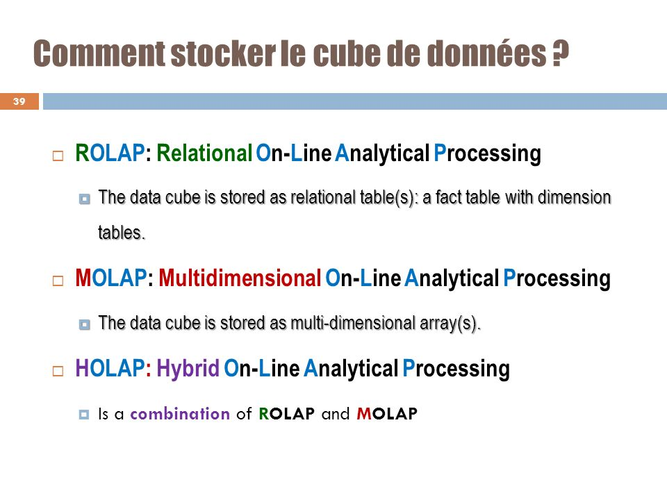 Comment stocker le cube de données ? ROLAP: Relational On-Line Analytical Processing The data cube is stored as relational table(s): a fact table with