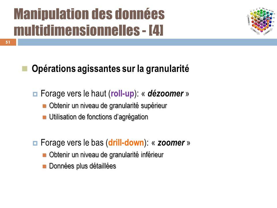 Manipulation des données multidimensionnelles - [4] Opérations agissantes sur la granularité Forage vers le haut ( roll-up ): « dézoomer » Obtenir un