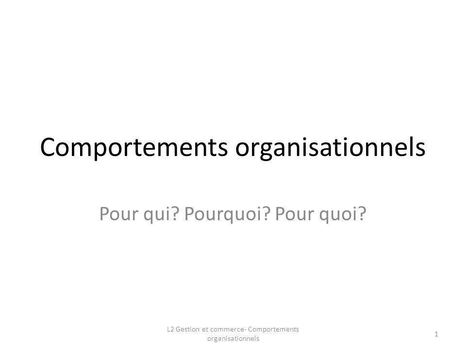 Comportements organisationnels Pour qui? Pourquoi? Pour quoi? 1 L2 Gestion et commerce- Comportements organisationnels