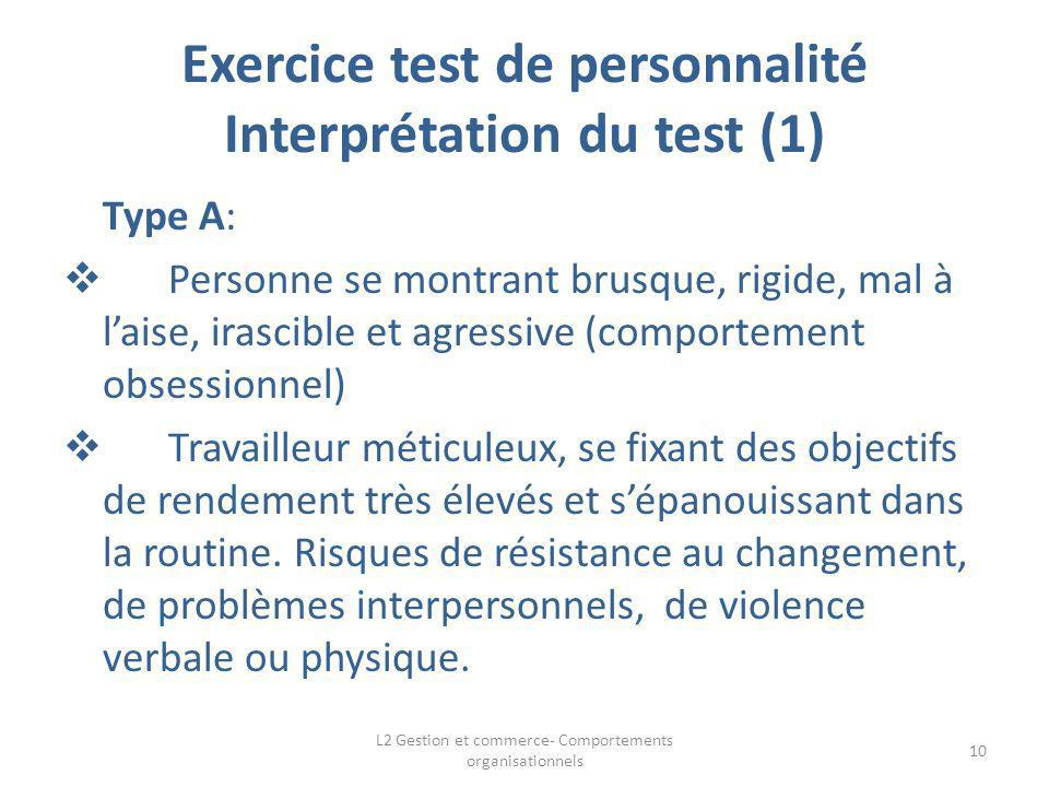 Exercice test de personnalité Interprétation du test (1) Type A: Personne se montrant brusque, rigide, mal à laise, irascible et agressive (comporteme