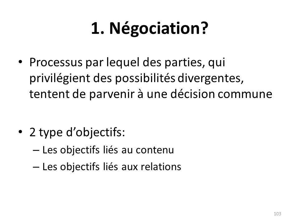 1. Négociation? Processus par lequel des parties, qui privilégient des possibilités divergentes, tentent de parvenir à une décision commune 2 type dob