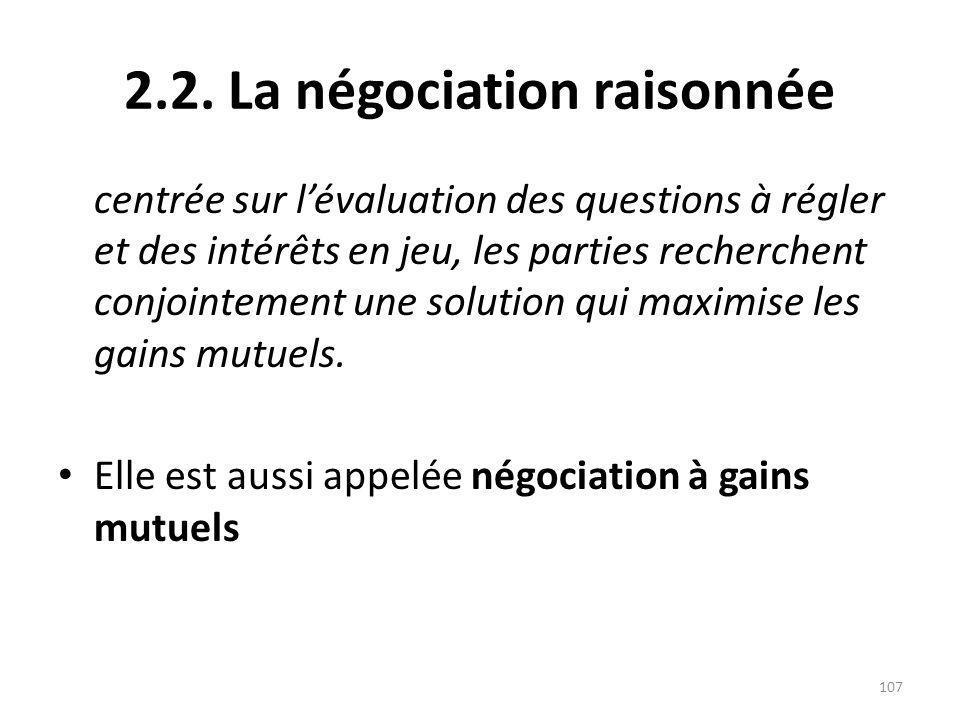2.2. La négociation raisonnée centrée sur lévaluation des questions à régler et des intérêts en jeu, les parties recherchent conjointement une solutio