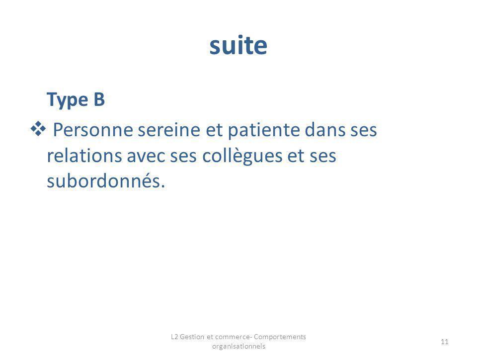 suite Type B Personne sereine et patiente dans ses relations avec ses collègues et ses subordonnés. 11 L2 Gestion et commerce- Comportements organisat