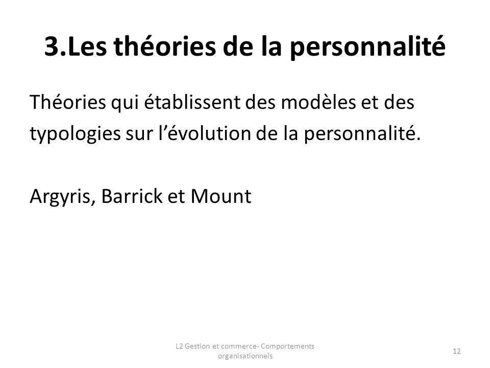3.Les théories de la personnalité Théories qui établissent des modèles et des typologies sur lévolution de la personnalité. Argyris, Barrick et Mount