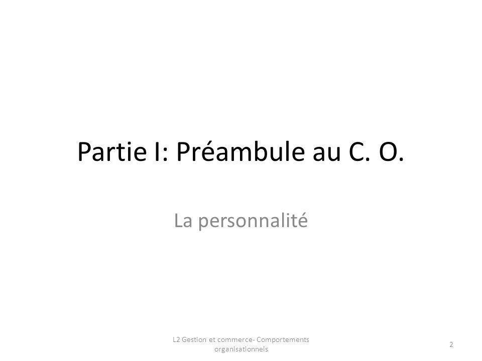 Partie I: Préambule au C. O. La personnalité 2 L2 Gestion et commerce- Comportements organisationnels
