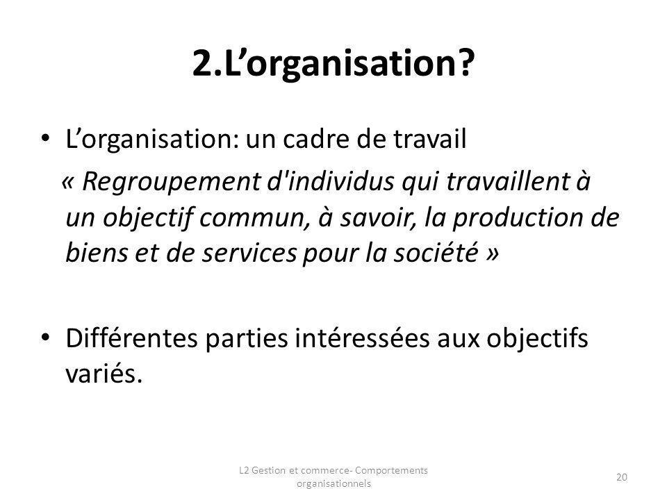 2.Lorganisation? Lorganisation: un cadre de travail « Regroupement d'individus qui travaillent à un objectif commun, à savoir, la production de biens