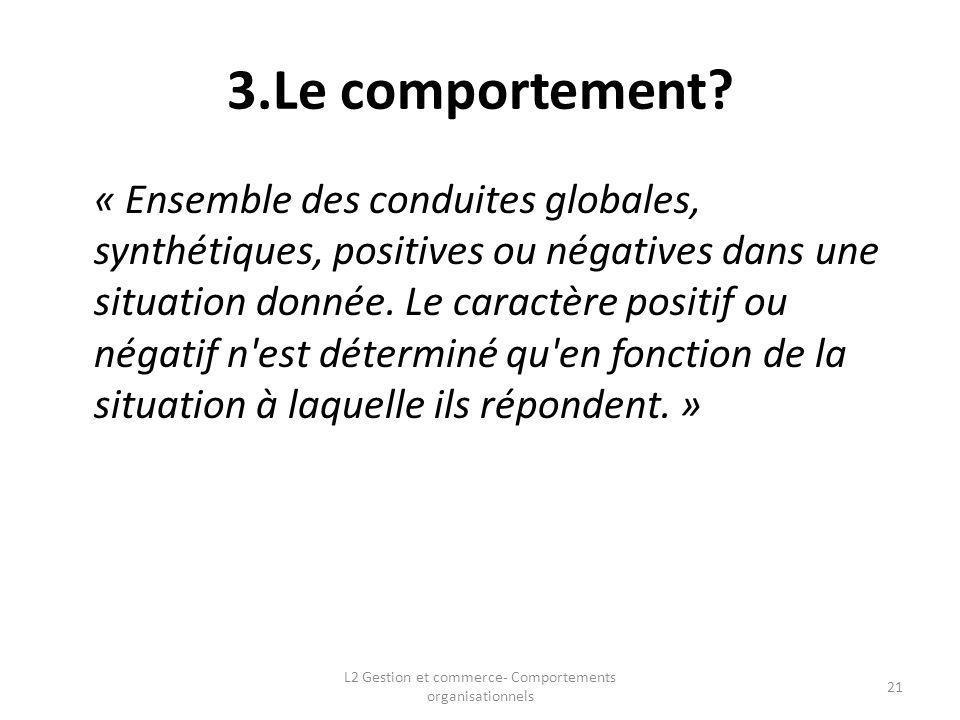 3.Le comportement? « Ensemble des conduites globales, synthétiques, positives ou négatives dans une situation donnée. Le caractère positif ou négatif
