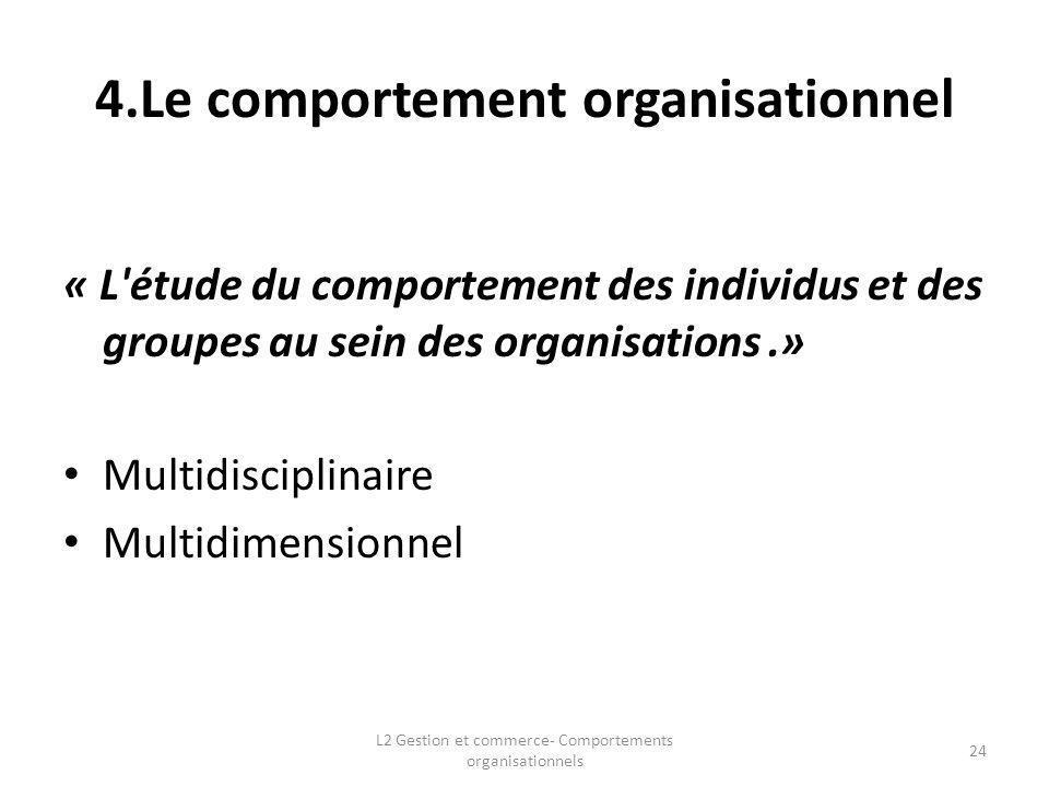 4.Le comportement organisationnel « L'étude du comportement des individus et des groupes au sein des organisations.» Multidisciplinaire Multidimension