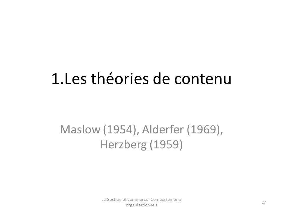 1.Les théories de contenu Maslow (1954), Alderfer (1969), Herzberg (1959) 27 L2 Gestion et commerce- Comportements organisationnels