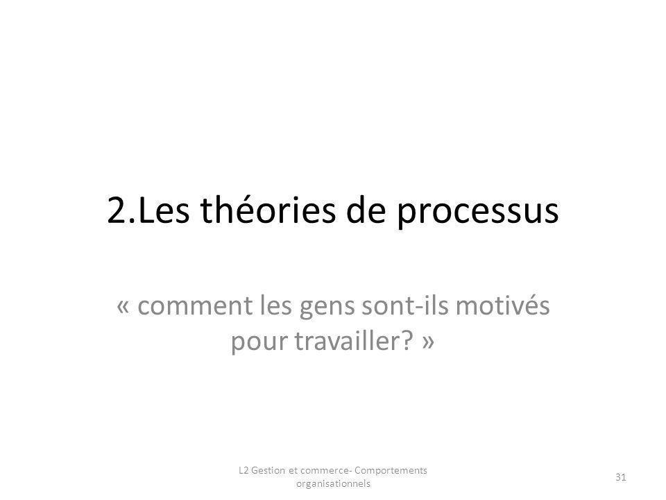 2.Les théories de processus « comment les gens sont-ils motivés pour travailler? » 31 L2 Gestion et commerce- Comportements organisationnels
