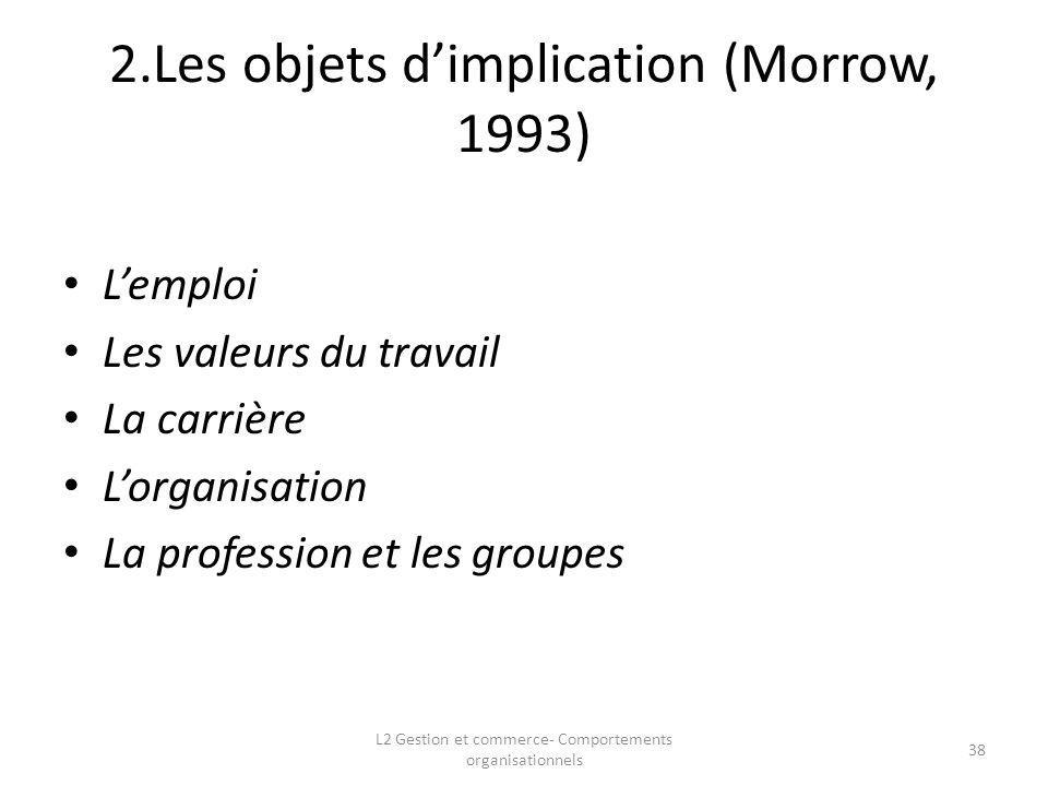 2.Les objets dimplication (Morrow, 1993) Lemploi Les valeurs du travail La carrière Lorganisation La profession et les groupes 38 L2 Gestion et commer