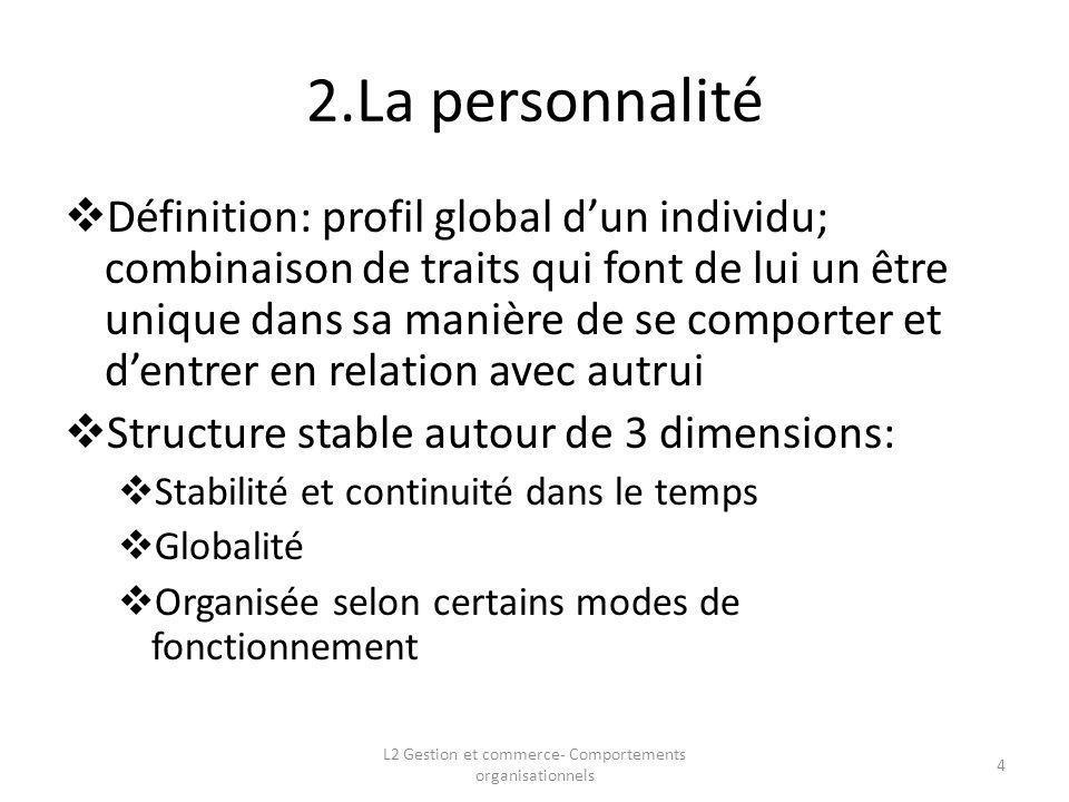 2.La personnalité Définition: profil global dun individu; combinaison de traits qui font de lui un être unique dans sa manière de se comporter et dent