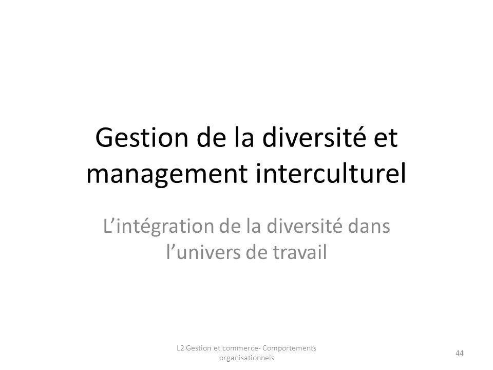 Gestion de la diversité et management interculturel Lintégration de la diversité dans lunivers de travail 44 L2 Gestion et commerce- Comportements org