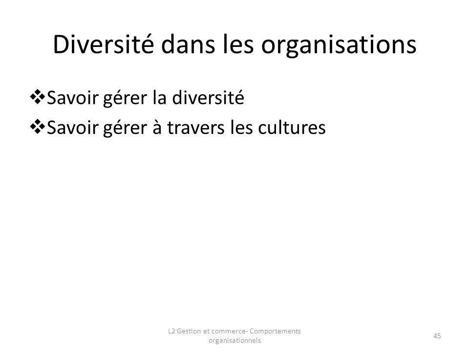 Diversité dans les organisations Savoir gérer la diversité Savoir gérer à travers les cultures 45 L2 Gestion et commerce- Comportements organisationne