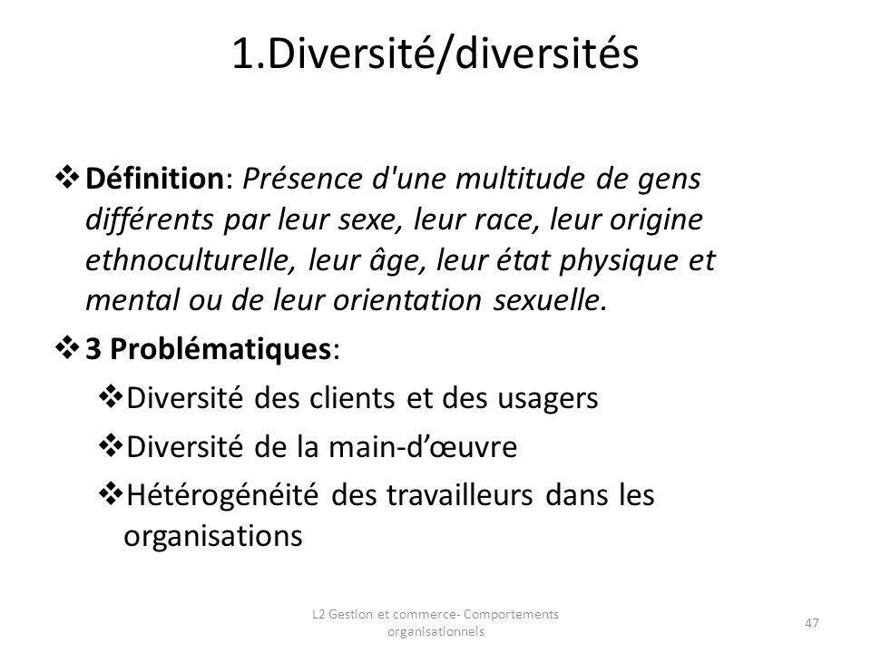 1.Diversité/diversités Définition: Présence d'une multitude de gens différents par leur sexe, leur race, leur origine ethnoculturelle, leur âge, leur