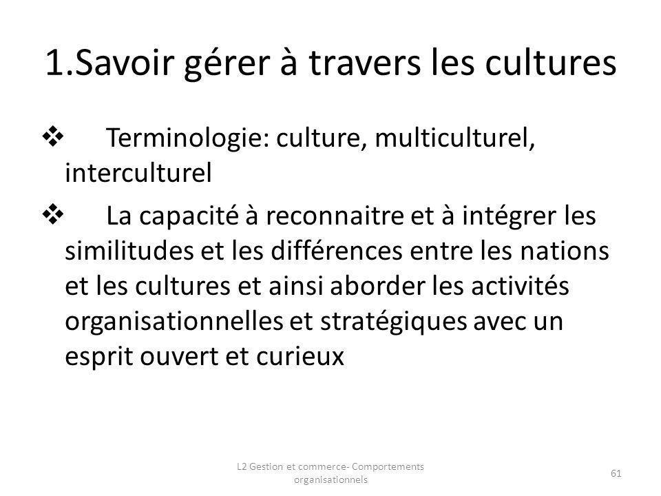 1.Savoir gérer à travers les cultures Terminologie: culture, multiculturel, interculturel La capacité à reconnaitre et à intégrer les similitudes et l