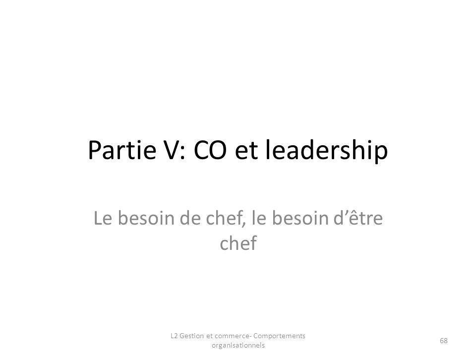 Partie V: CO et leadership Le besoin de chef, le besoin dêtre chef L2 Gestion et commerce- Comportements organisationnels 68