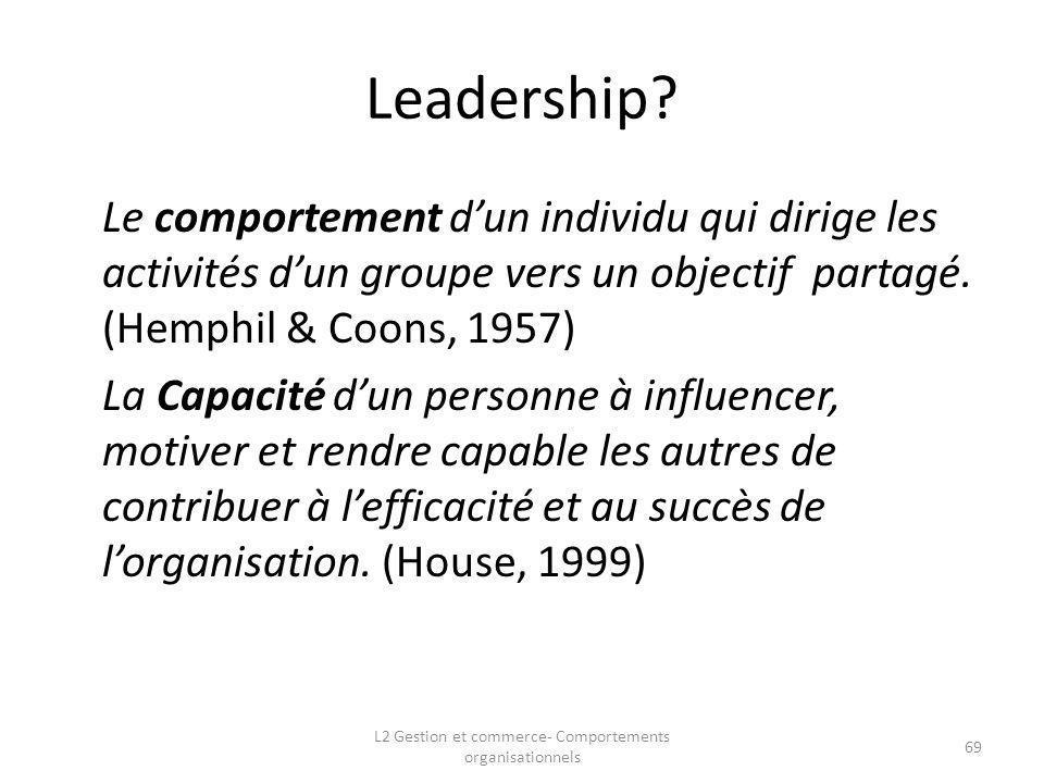 Leadership? Le comportement dun individu qui dirige les activités dun groupe vers un objectif partagé. (Hemphil & Coons, 1957) La Capacité dun personn