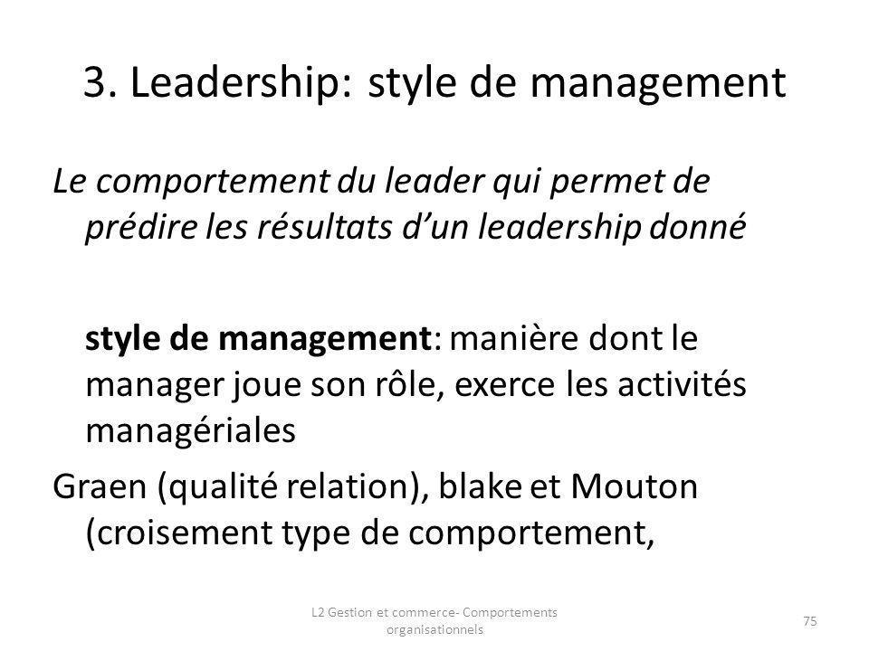 3. Leadership: style de management Le comportement du leader qui permet de prédire les résultats dun leadership donné style de management: manière don