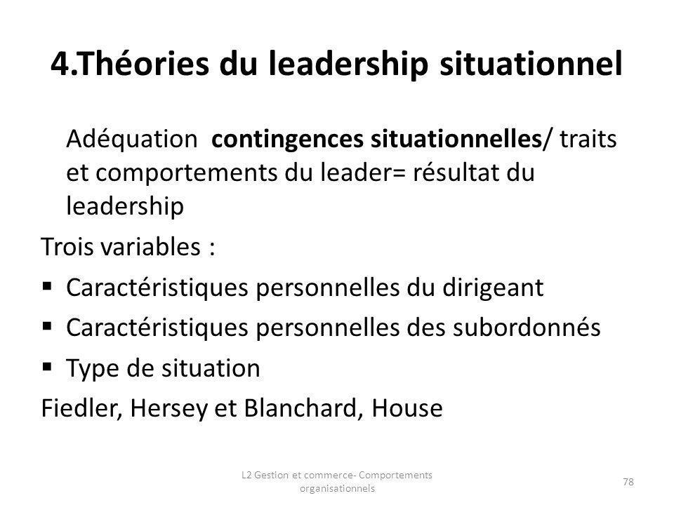 4.Théories du leadership situationnel Adéquation contingences situationnelles/ traits et comportements du leader= résultat du leadership Trois variabl
