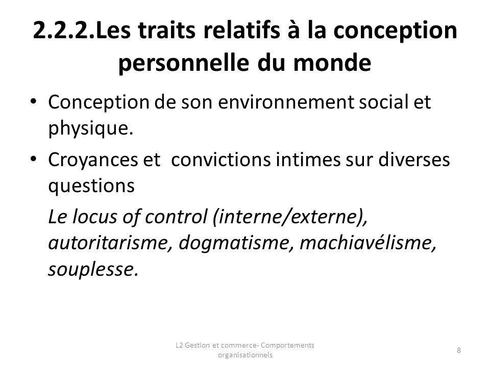 2.2.2.Les traits relatifs à la conception personnelle du monde Conception de son environnement social et physique. Croyances et convictions intimes su