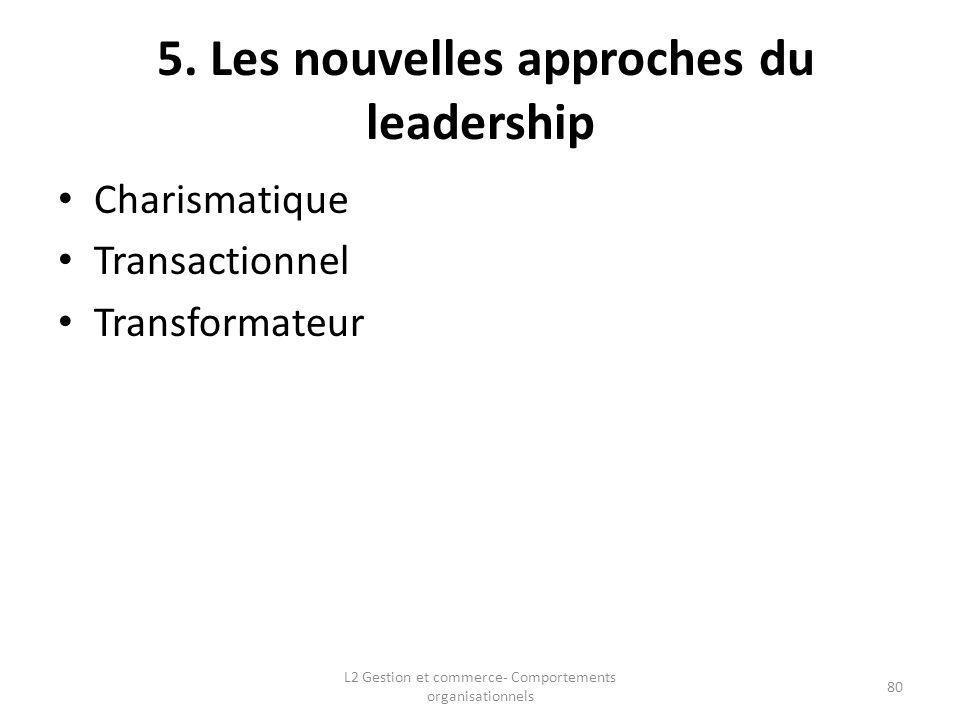 5. Les nouvelles approches du leadership Charismatique Transactionnel Transformateur L2 Gestion et commerce- Comportements organisationnels 80