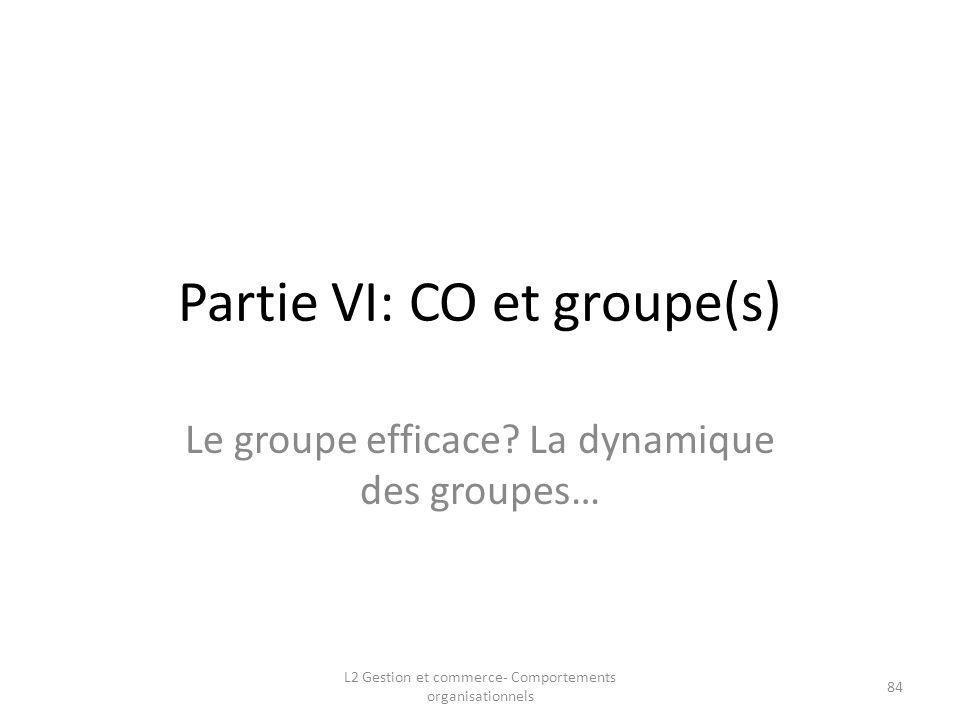 Partie VI: CO et groupe(s) Le groupe efficace? La dynamique des groupes… L2 Gestion et commerce- Comportements organisationnels 84