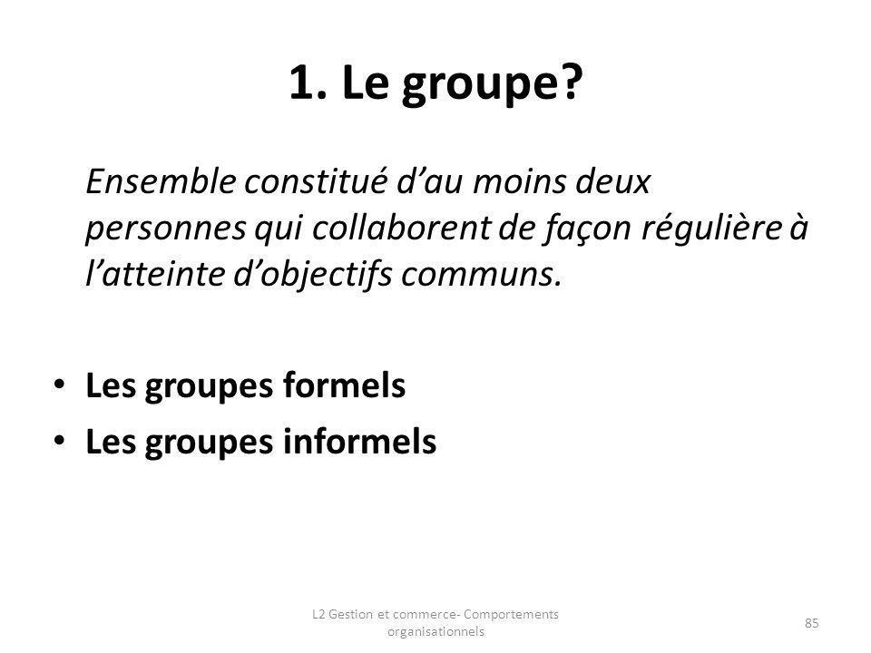 1. Le groupe? Ensemble constitué dau moins deux personnes qui collaborent de façon régulière à latteinte dobjectifs communs. Les groupes formels Les g
