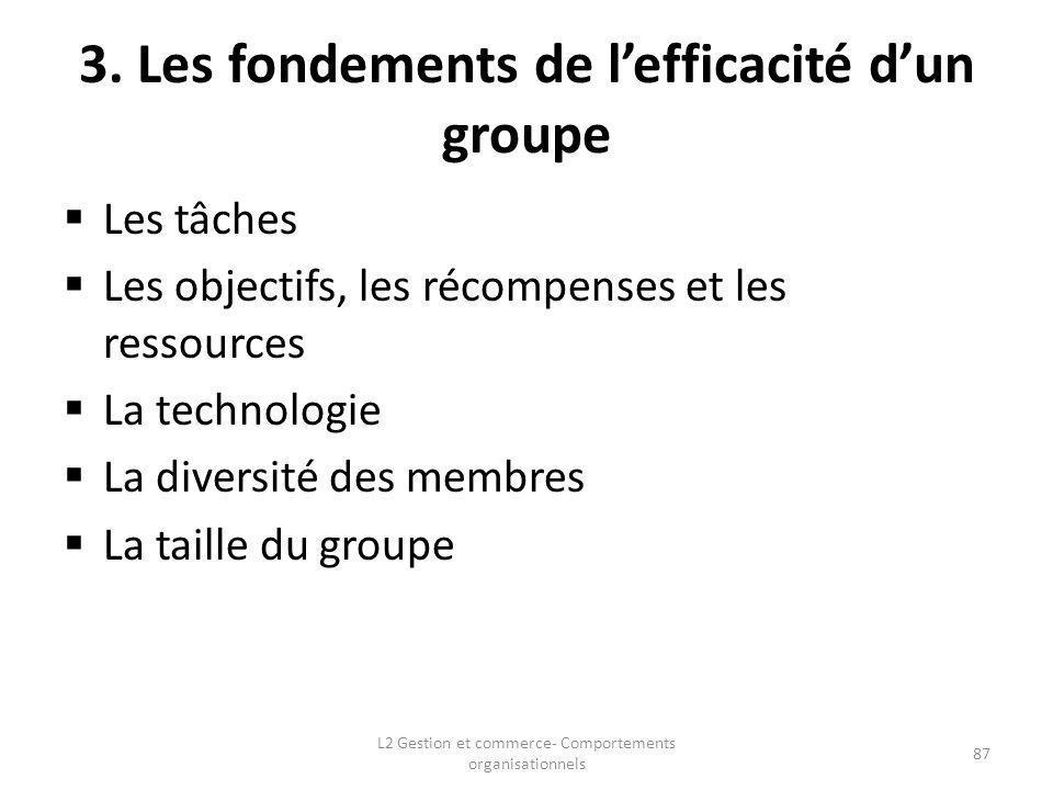 3. Les fondements de lefficacité dun groupe Les tâches Les objectifs, les récompenses et les ressources La technologie La diversité des membres La tai