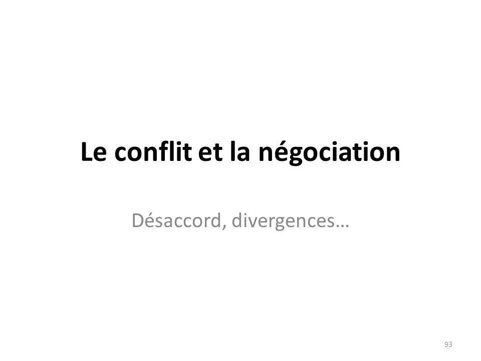 Le conflit et la négociation Désaccord, divergences… 93