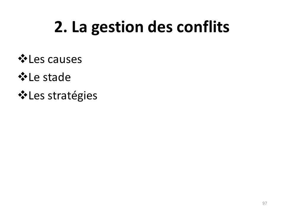 2. La gestion des conflits Les causes Le stade Les stratégies 97