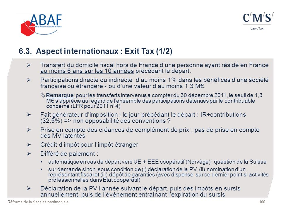 6.3. Aspect internationaux : Exit Tax (1/2) Transfert du domicile fiscal hors de France dune personne ayant résidé en France au moins 6 ans sur les 10