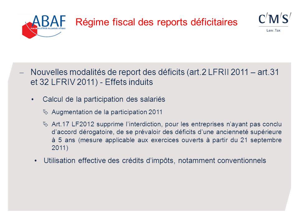 Nouvelles modalités de report des déficits (art.2 LFRII 2011 – art.31 et 32 LFRIV 2011) - Effets induits Calcul de la participation des salariés Augme