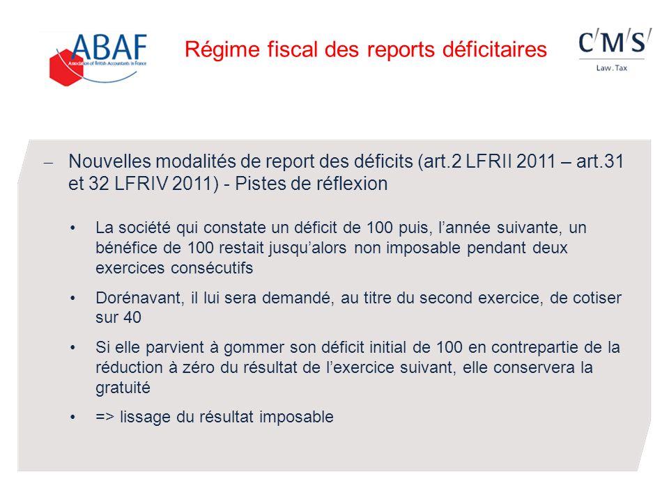 Nouvelles modalités de report des déficits (art.2 LFRII 2011 – art.31 et 32 LFRIV 2011) - Pistes de réflexion La société qui constate un déficit de 10