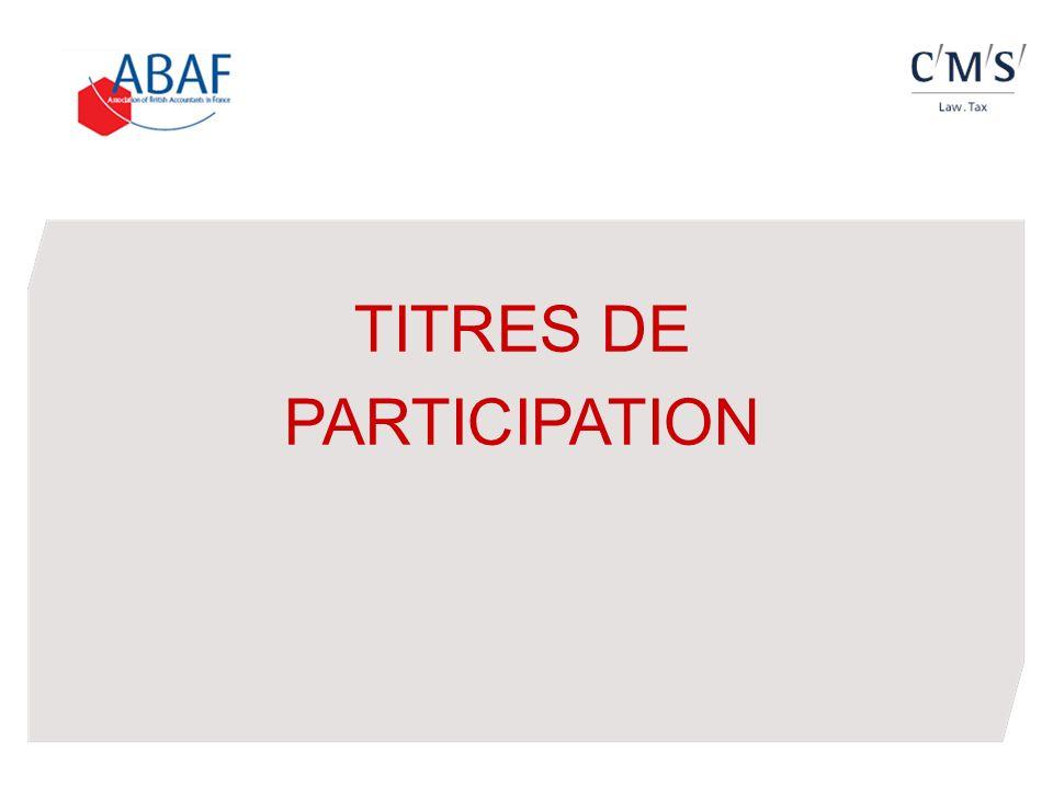 TITRES DE PARTICIPATION