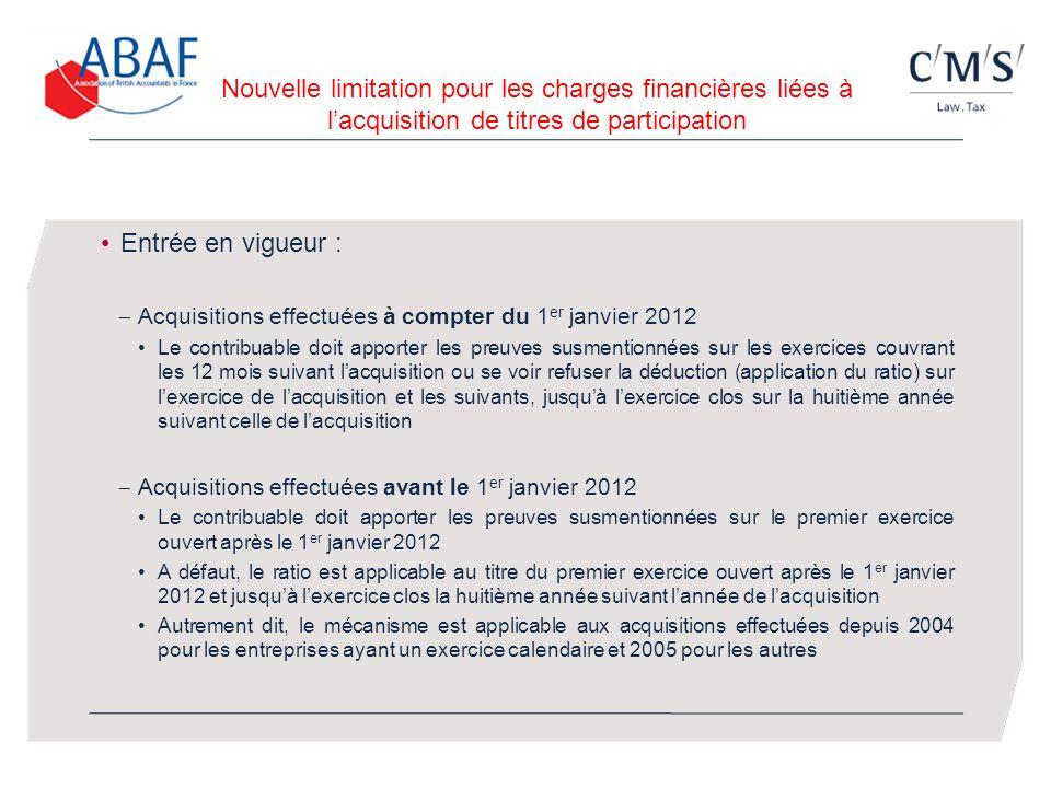 Nouvelle limitation pour les charges financières liées à lacquisition de titres de participation Entrée en vigueur : Acquisitions effectuées à compter