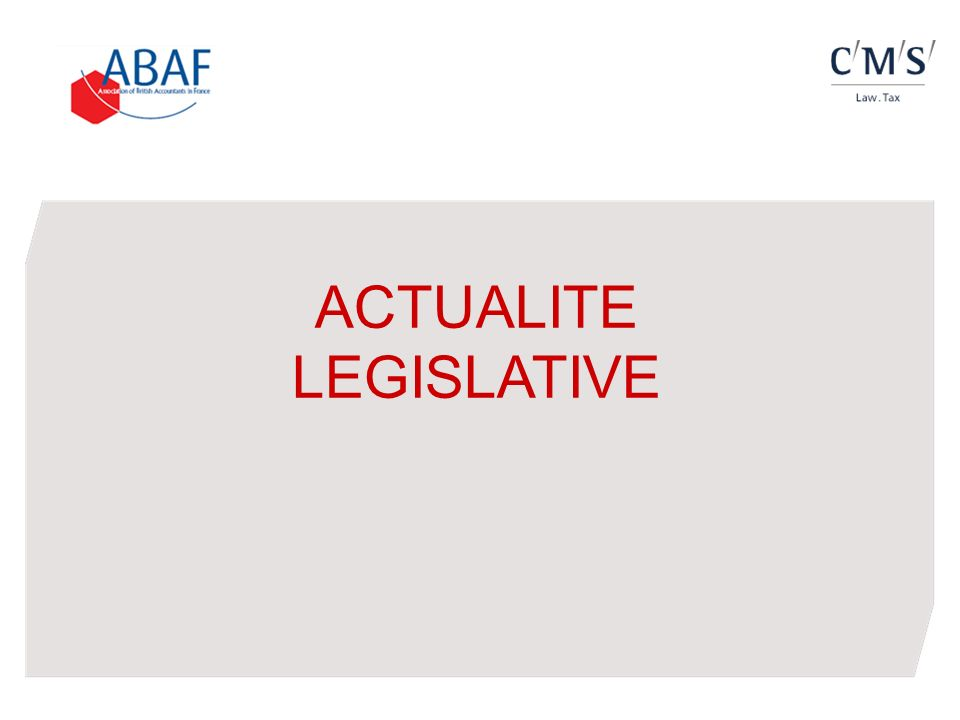 ACTUALITE LEGISLATIVE