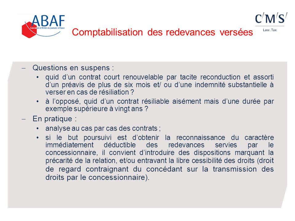 Comptabilisation des redevances versées Questions en suspens : quid dun contrat court renouvelable par tacite reconduction et assorti dun préavis de p