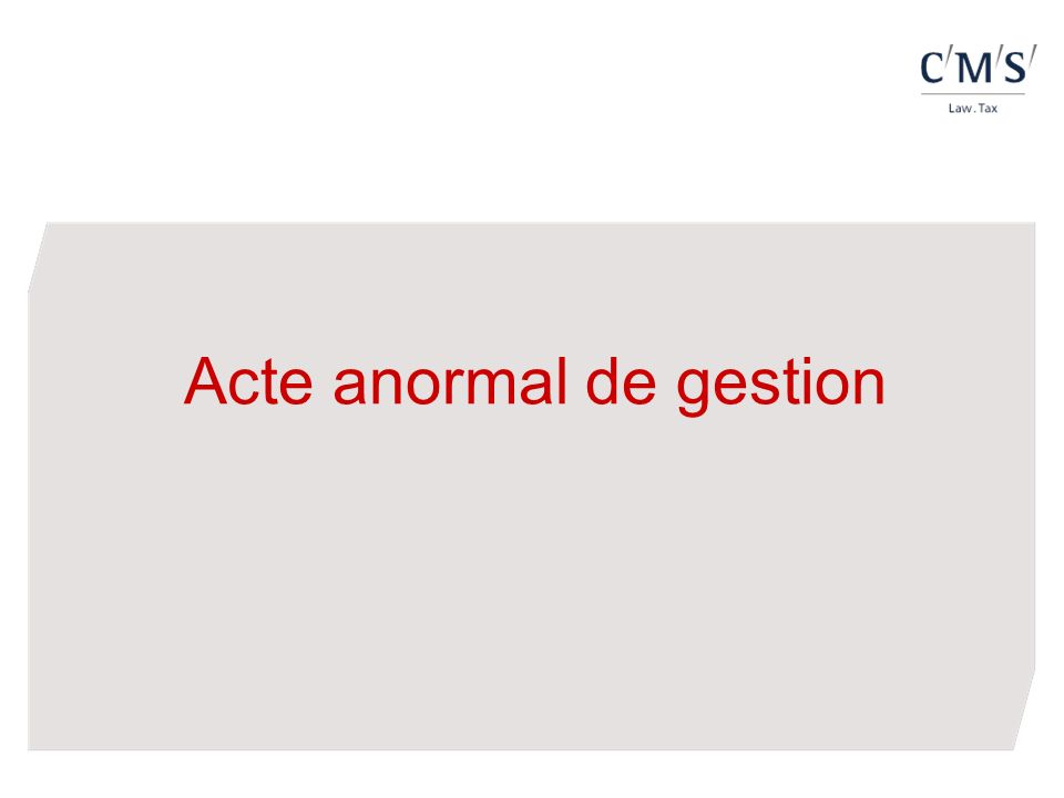 Acte anormal de gestion