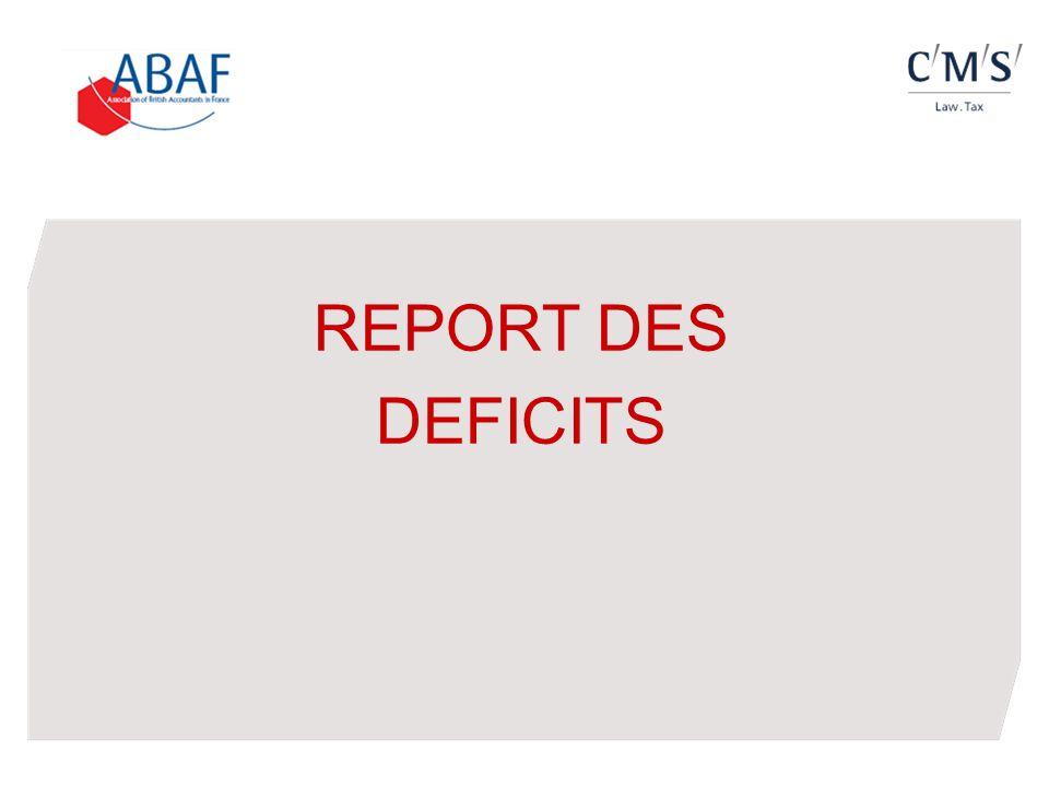 Le report en arrière des déficits (carry-back) Régime précédent : déficit dun exercice reportable en arrière sur les bénéfices des trois exercices précédents (fraction non distribuée) ; génère une créance sur le Trésor, utilisable pour le paiement de lIS dû au titre des cinq exercices suivants, puis remboursable ; option possible : non seulement au titre du déficit de lexercice, mais également au titre des déficits antérieurs reportables (CE, 4 août 2006, n°285201) ; non seulement par la souscription dune déclaration spéciale (n°2039) jointe au relevé de solde de lIS, mais également par voie de réclamation contentieuse au plus tard le 31 décembre de la deuxième année suivant celle de la constatation du déficit (CAA Paris, 12 février 2010, SARL Maysam France / CE 23 décembre 2011, n°338773).