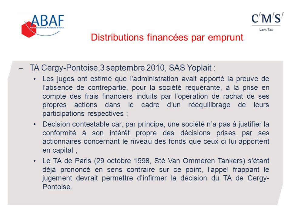 TA Cergy-Pontoise,3 septembre 2010, SAS Yoplait : Les juges ont estimé que ladministration avait apporté la preuve de labsence de contrepartie, pour l