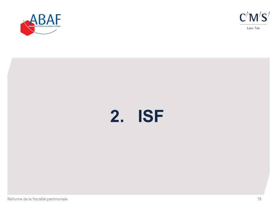 78 2.ISF Réforme de la fiscalité patrimoniale