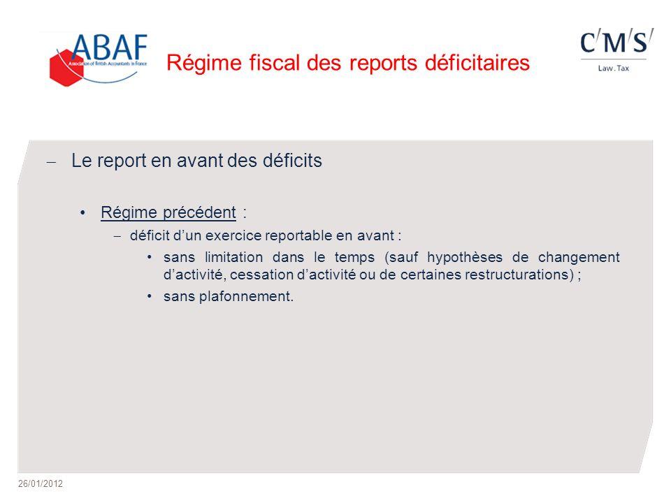 Régime fiscal des reports déficitaires Le report en avant des déficits Régime précédent : déficit dun exercice reportable en avant : sans limitation d