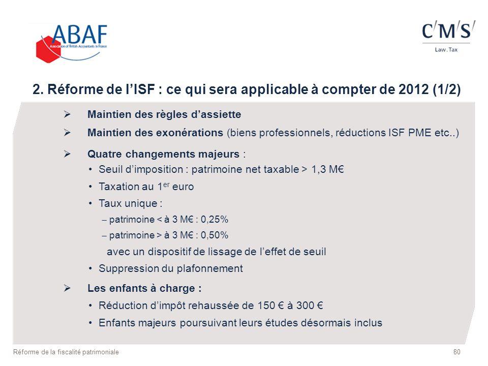 2. Réforme de lISF : ce qui sera applicable à compter de 2012 (1/2) Maintien des règles dassiette Maintien des exonérations (biens professionnels, réd