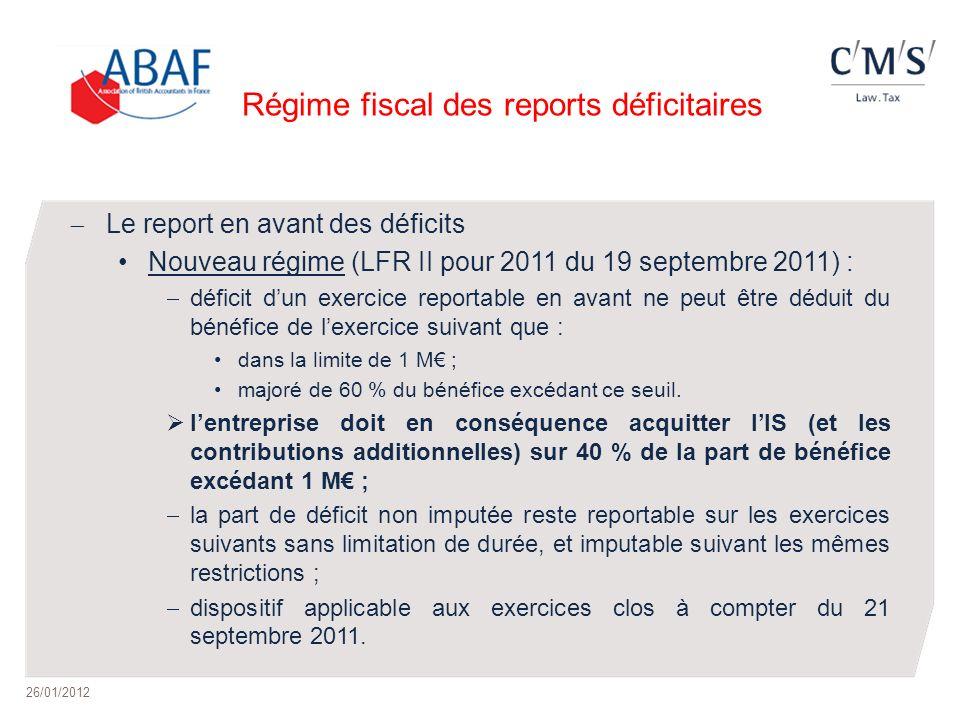 Régime fiscal des reports déficitaires Le report en avant des déficits Nouveau régime (LFR II pour 2011 du 19 septembre 2011) : déficit dun exercice r