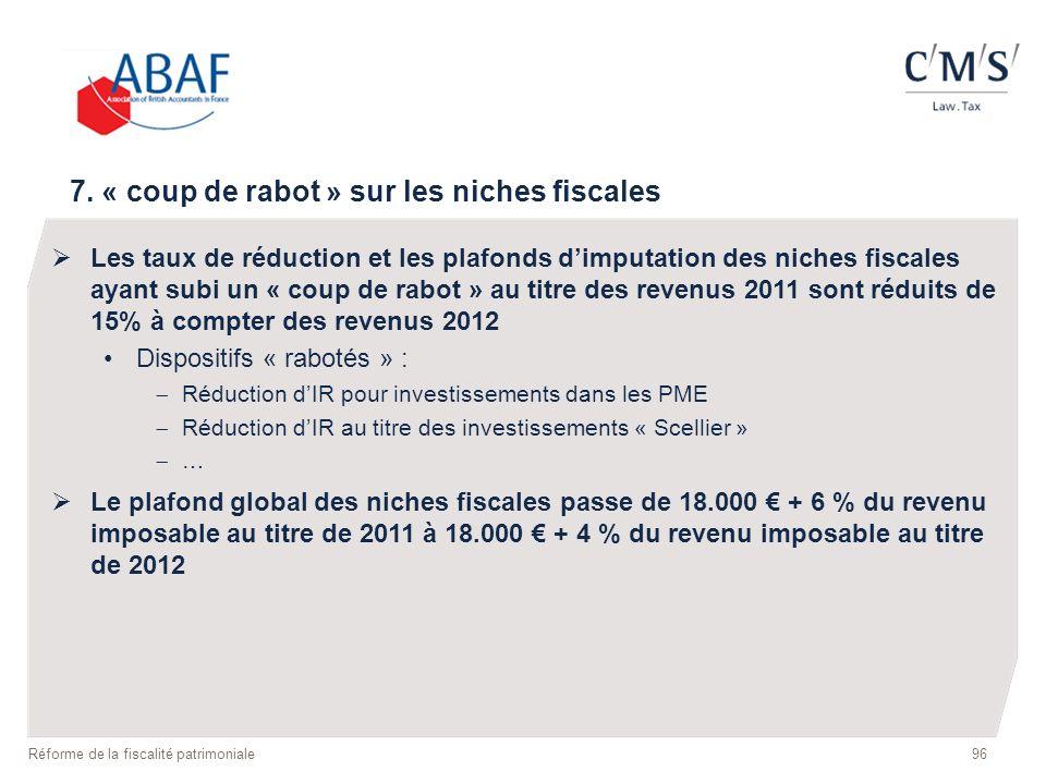 96 Réforme de la fiscalité patrimoniale 7. « coup de rabot » sur les niches fiscales Les taux de réduction et les plafonds dimputation des niches fisc