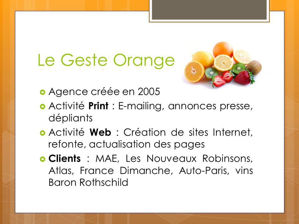 Le Geste Orange Agence créée en 2005 Activité Print : E-mailing, annonces presse, dépliants Activité Web : Création de sites Internet, refonte, actual