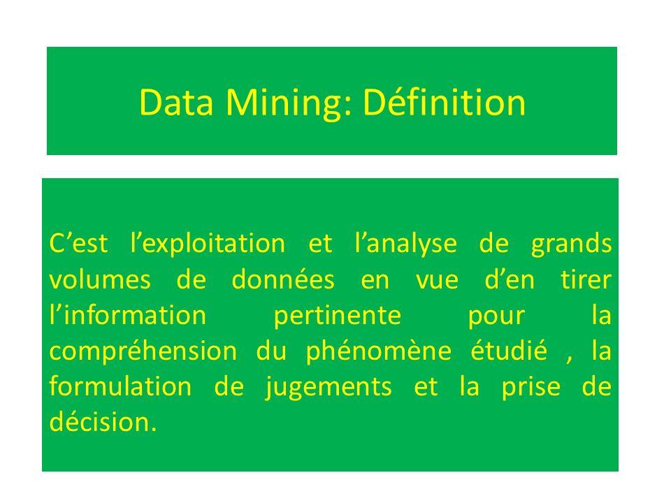 Data Mining: Définition Cest lexploitation et lanalyse de grands volumes de données en vue den tirer linformation pertinente pour la compréhension du
